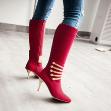 hot deal buy 2019 fashiion metal women boots high heels knee high boots suede thigh high red black blue sock boots ladies shoes size 34-45