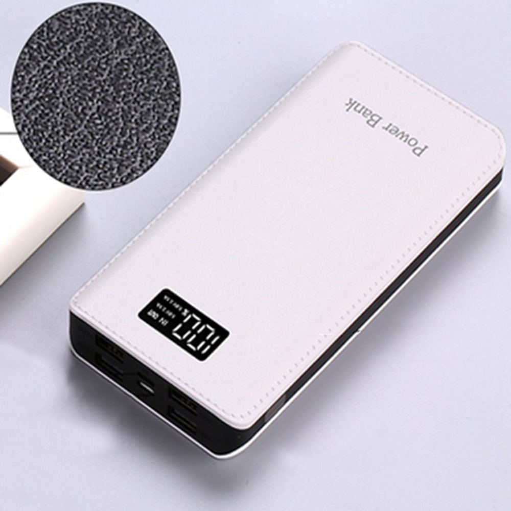 10000MAH Universal External Power Bank Large Capacity PU Leather Pattern 4USB Display Battery Charger Supply For iPhone, etc