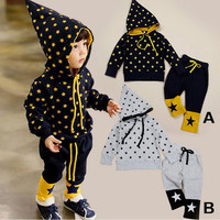 2 Pcs 12M~5T New Fashion Baby Girl Clothes Sets Children Clothing Sets Baby Boy Clothes Star Hoodie Pants Autumn Spring V20