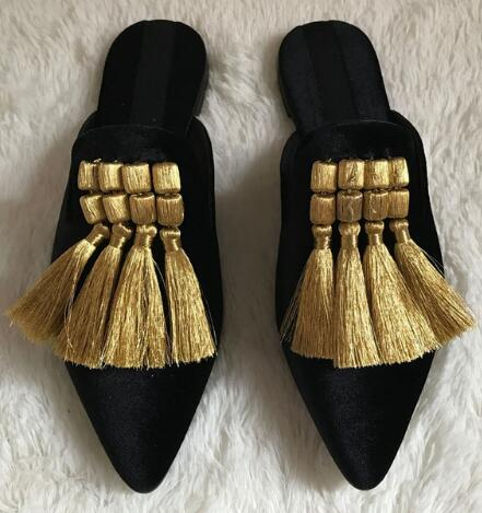 Handmade Tassels Women Slippers Summer Gladiator Sandals Velvet Casual Flat Shoes Woman Pointed Toe Slides Loafers Flats