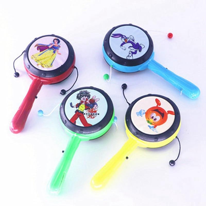 1 Stück Farbe Zufällig Mode Baby Jungen Mädchen Trommel Spielzeug Kunststoff Rassel Pellet Trommel Cartoon Musical Instrument Spielzeug Für Kinder Geschenk Feines Handwerk
