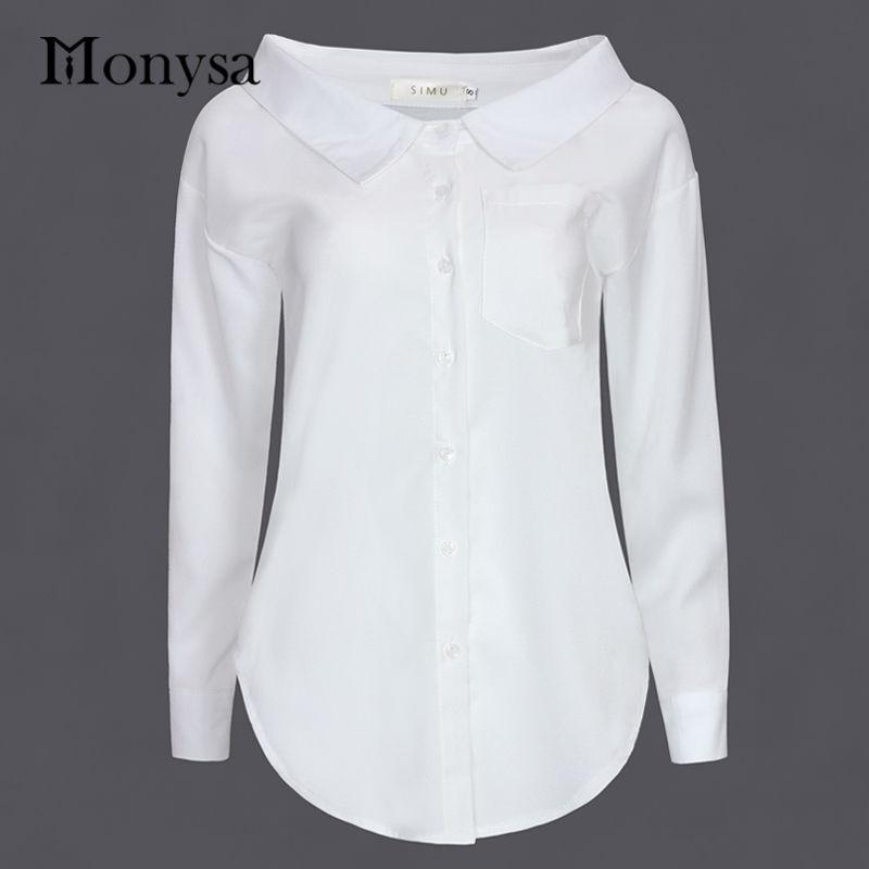 d98b4d2c042 Black White Shirt Women Batwing Long Sleeve Peter Pan Collar Chiffon Blouse  Pocket Button Korean Autumn 2016 Casual Office Tops