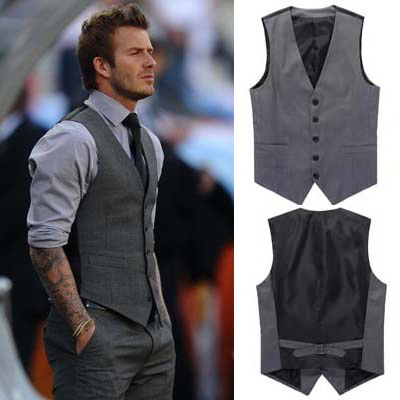 hot freeship mens Beckham vest men's casual suit vest grey M TO XXL Asian size (pant the same price)