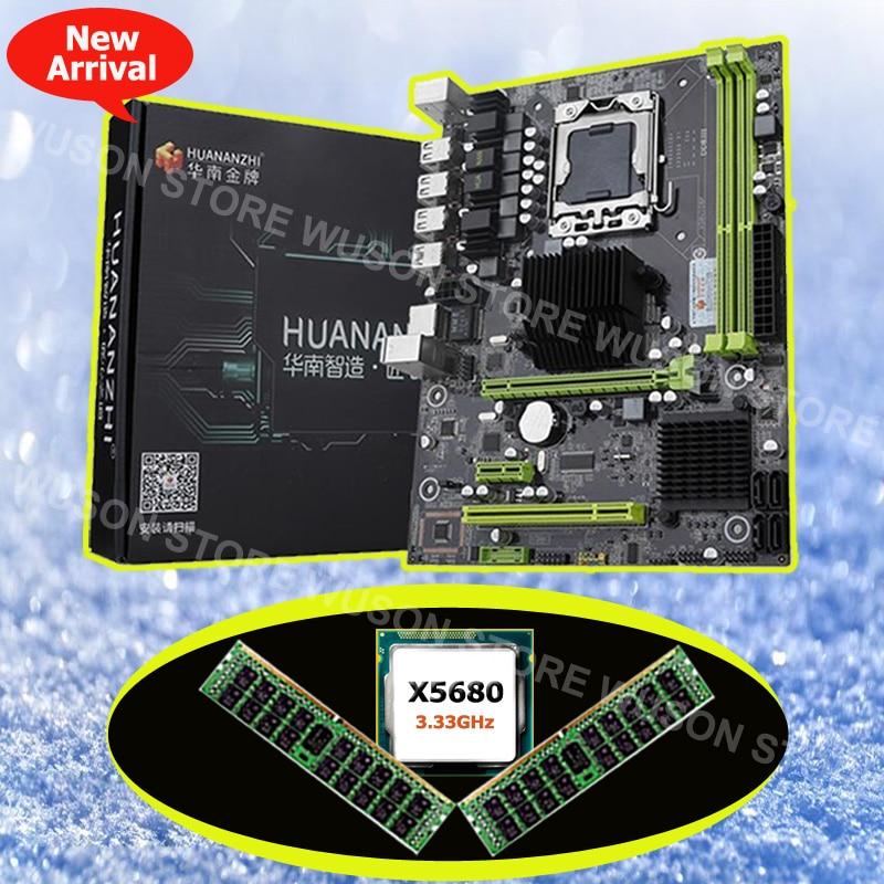 Sconto di marca nuova scheda madre HUANAN ZHI X58 Pro scheda madre con processore Intel Xeon X5680 3.33 GHz 16G di memoria DDR3 REG ecc