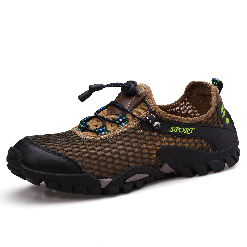цена на Men Hiking Shoes Walking Trekking Mountain Climbing Shoes Spring Summer Breathable Mesh Fishing Sports Sneakers