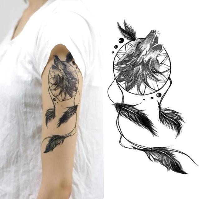 Temporary Tattoos Stickers Body Art Fake Dreamcatcher Tattoo ...