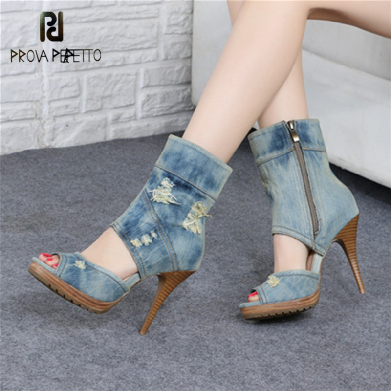 Prova Perfetto Peep Toe Women Ankle Boots Hollow Out Denim Summer Boots High Heel Shoes Woman Sexy Women Platform Pumps rabbit fur charming white leather hollow out summer high heel sandals women back zipper peep toe ankle boots summer sandal boots