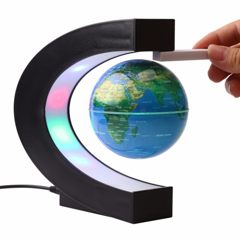 miniatures 3.5 inch LED Light Lamp for Kids Education Magnetic Levitation Floating World Map Globe C Shape Base Anti Gravity