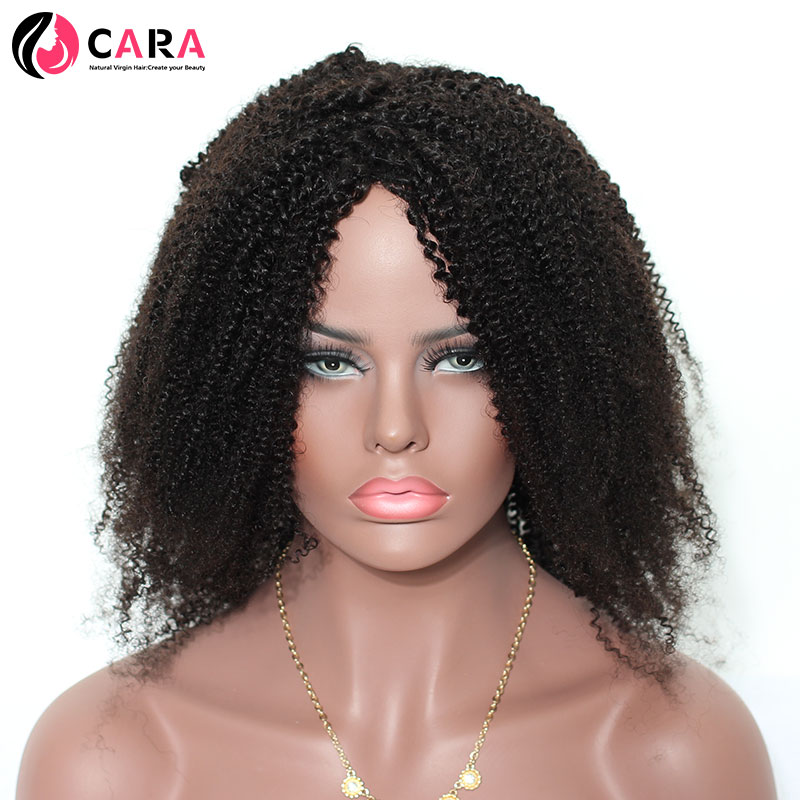CARA Afro Kinky Curly None Lace Wigs Brazilian Hair Natural Color African Hair Style Non-Remy Hair