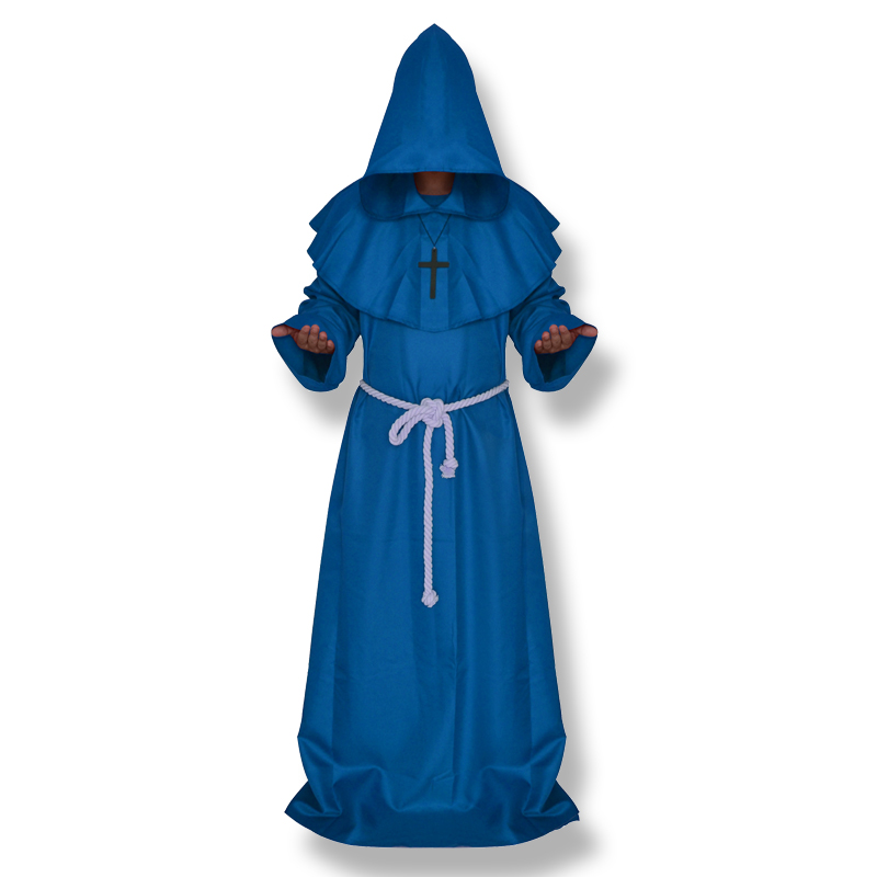 CT016FY036 костюм для косплея на Хэллоуин, средневековый фрир, монах, который носит костюм попа - Цвет: blue