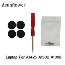 Asunflower OEM NEW 4Pcs Laptop A1425 A1502 A1398 Rubber Bottom Case Cover Feet Foot Kit+Screws Set+Tool For Macbook Pro 13 15
