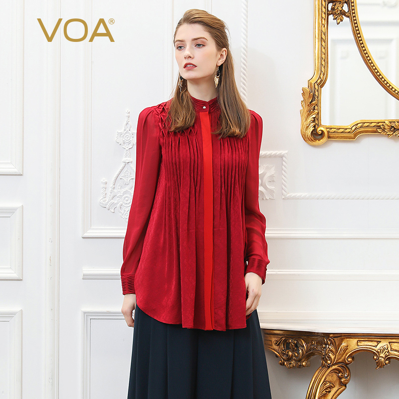 VOA Runway Silk Blouse Plus Size 5XL Loose Women Tops Office Ladies Shirt Wine Red Slim Long Sleeve Vintage Casual Autumn B126