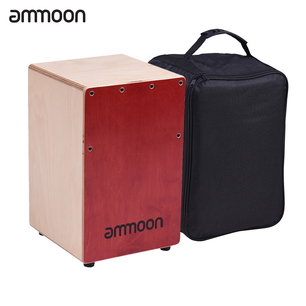 ammoon Wooden Cajon Box Drum Hand Drum Children Kids Persussion Instrument Birch Wood with Adjustable Strings