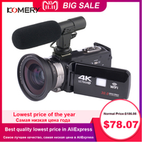 KOMERY 4K Camcorder Video Camera Wifi Night Vision 3.0 Inch LCD Touch Screen Time lapse Photography Camera Fotografica With Micr