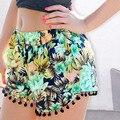 Da Praia do verão Borla Hem Floral Impresso Shorts Mulheres Calças Curtas Ocasionais Quentes