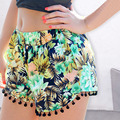 Summer Beach Tassel Hem Floral Printed Women Shorts Hot Casual Short Pants