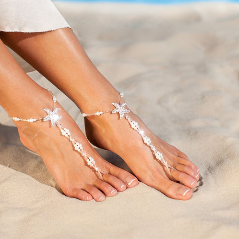 2Pcs Pearl Ankle Chain Beach Wedding Foot Jewelry Barefoot Sandal Anklet Chain
