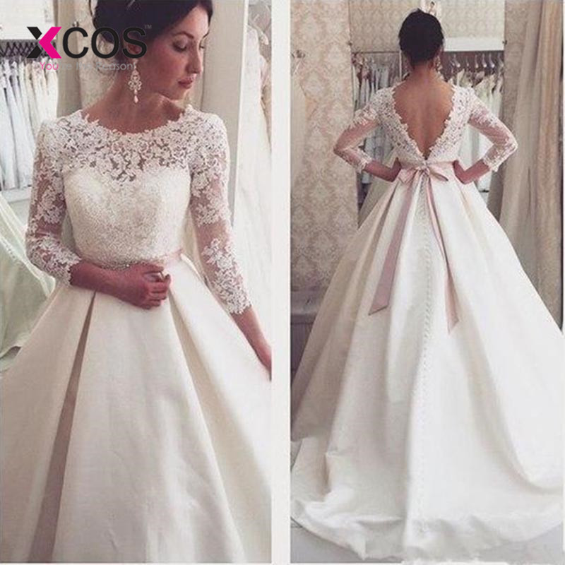Discount Simple Elegant Open Back Long Sleeve Wedding: XCOS White Lace Backless Wedding Dresses 3/4 Sleeves