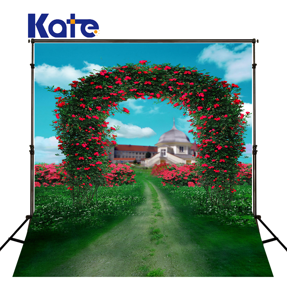 600Cm*300Cm Fundo Flower Gate Road House3D Baby Photography Backdrop Background Lk 1710 215cm 150cm fundo flower blossoms3d baby photography backdrop background lk 1860