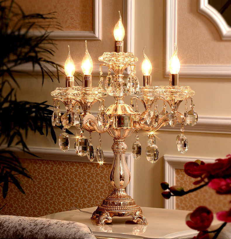5 Arm Gold Crystal Candle Holders Led