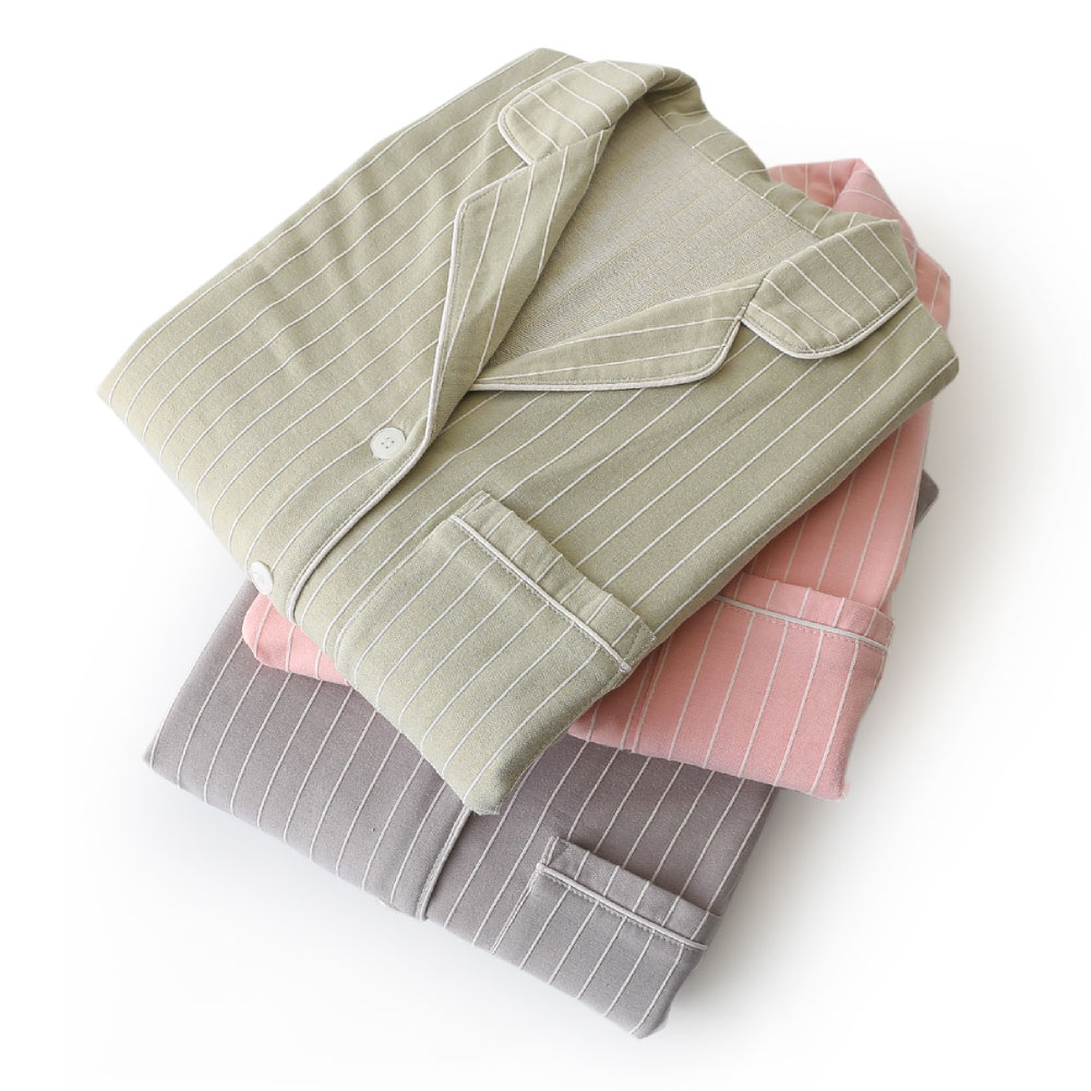 Cotton Knitted Vertical Stripe Pajama Sets Women Pink Sleepwear Couple Autumn Pijama Mujer Pyjama Suit Men Koszula Nocna Pigiama