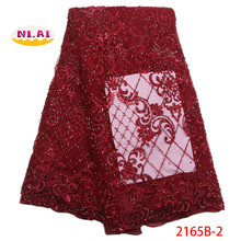 African Beaded Lace Fabric 2018 High Quality Latest Style Wine French Lace Fabric Nigerian Tulle Mesh Lace Fabrics NA2165B-1