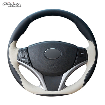 Shining wheat Black Beige Leather Hand-stitched Car Steering Wheel Cover for Toyota Yaris Vios 2014-2016