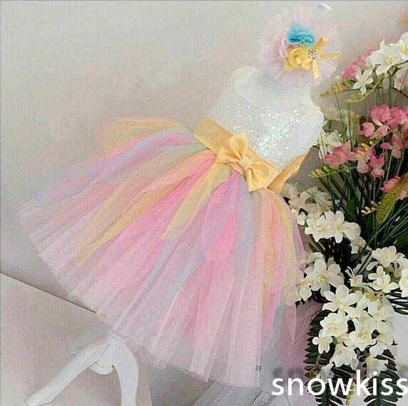 Bling sequins colorful rainbow tulle flower girl dresses with yellow Bow baby Birthday Party Dress toddler pageant ball gowns sliver bling sequins pink white lace baby birthday party dress flower girl dress