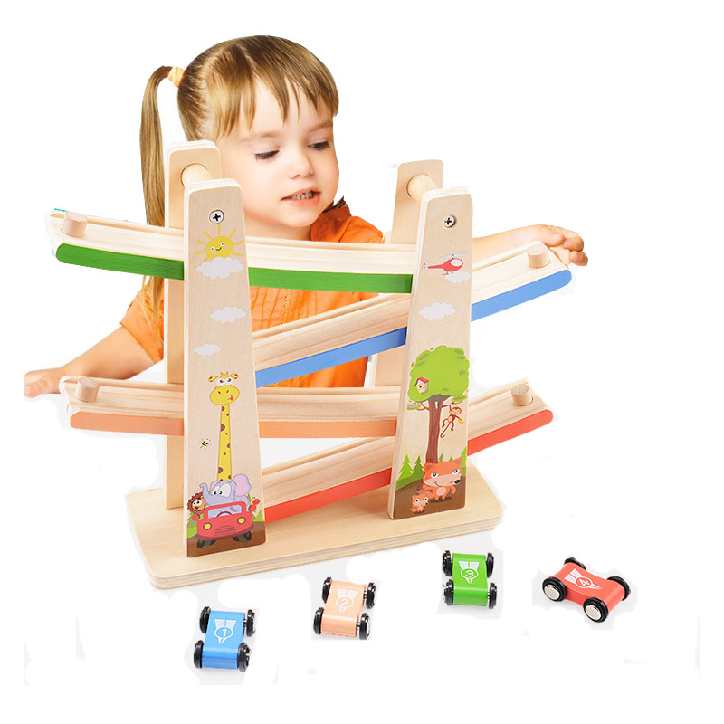 Wooden Slide Car Set Train Track Friends Forest City Railway Model Puzzles Early Educational Toys For Children