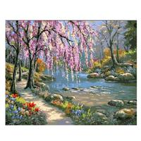 Pictures Oil Painting By Numbers DIY Digital Coloring On Canvas Romantic Creek Landscape Home Decoration 40x50cm