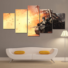 Modern Canvas Picture HD Printed Wall Art Frame 5 Pieces Battlefield Tanks Explosions Russian Movie Scene Living Room Home Decor