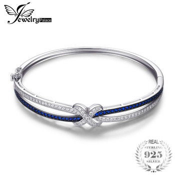 JewelryPalace X Mark 1.1ct Created Blue Spinel Bangle Bracelet 925 Sterling Silver Fine Jewelry New Wholesale Promotion bangle