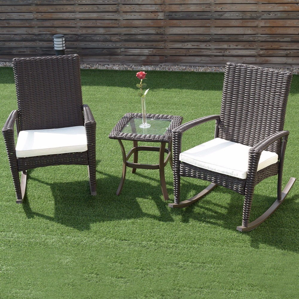 Wicker Patio Chair Aliexpress Buy Giantex 3 Pcs Rattan Wicker Patio Furniture Set Coffee Table Rocking Chair Cushioned New Garden Set Hw54922 From Reliable Garden