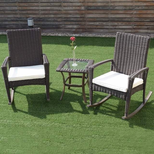 Placeholder Giantex 3 Pcs Rattan Wicker Patio Furniture Set Coffee Table Rocking Chair Cushioned New Garden
