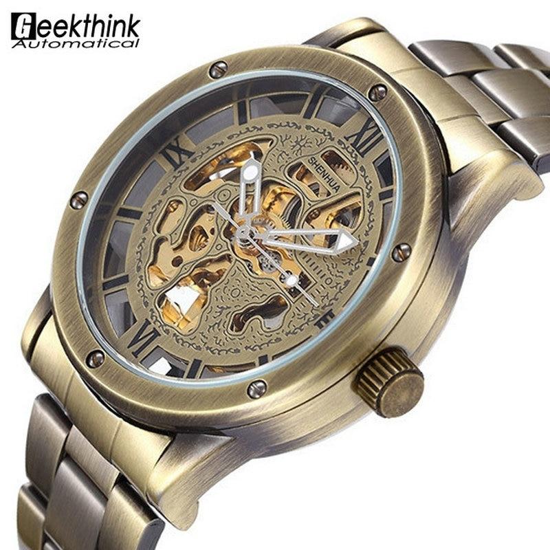 Vintage Bronze Men's Skeleton Watch Clock Male stainless steel Strap Antique Steampunk Automatic Skeleton Mechanical Wristwatch