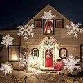 Перемещение снега лазерный проектор лампа Снежинка светодиодный сценический свет Рождество Новый год вечеринка Хэллоуин проектор наружно...