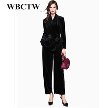 WBCTW Outfits Women Suit Solid Fashion XXS-7XL Plus Size Custom Made Casual Runway Set Autumn Spring Casual Velvet Set Regular