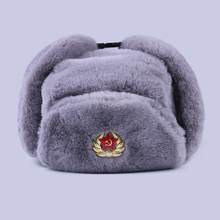 Soviet Badge Ushanka Russian Men Women Winter Hats Faux Rabbit Fur Army Military Bomber Hat Cossack Trapper Earflap Snow Ski Cap