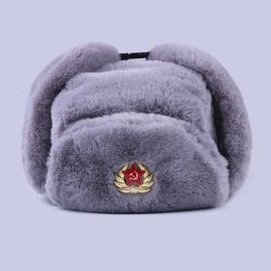 Image 1 - Radziecka odznaka Ushanka rosyjski mężczyzna kobiet czapki zimowe Faux Rabbit Fur armia wojskowa bomberka kapelusz kozak traper Earflap śnieg czapka narciarska