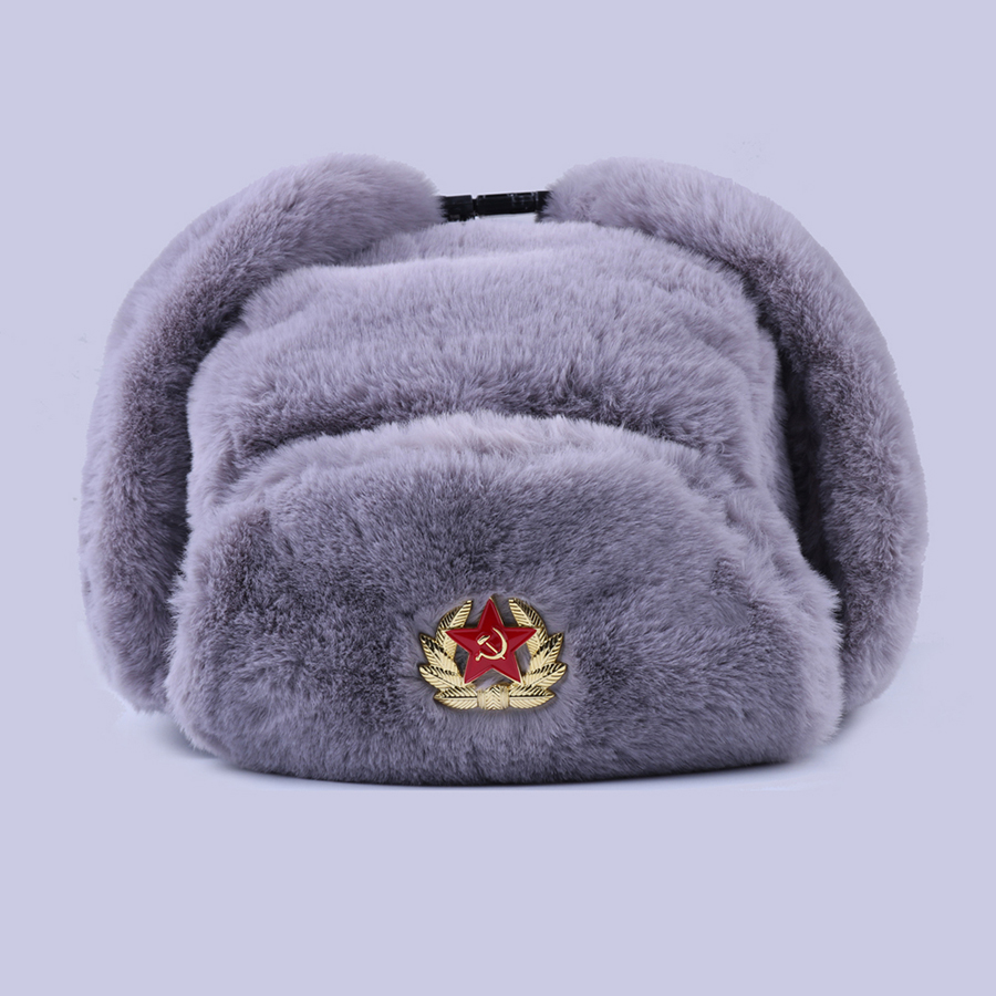 Soviet Badge Ushanka Russian Men Women Winter Hats Faux Rabbit Fur Army Military Bomber Hat Cossack Trapper Earflap Snow Ski Cap