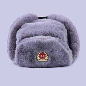 Image 1 - Soviet Badge Ushanka Russian Men Women Winter Hats Faux Rabbit Fur Army Military Bomber Hat Cossack Trapper Earflap Snow Ski Cap