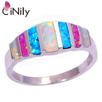 Simple Wholesale Retail For Women Jewelry Pink Blue White Fire Opal 925 Sterling Silver Plated Ring