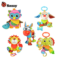 Sozzy Baby Animals Buddies Placate Activity Stuffed Plush Lion Dog Owl Elephant Teether Toy 20cm Multicolor