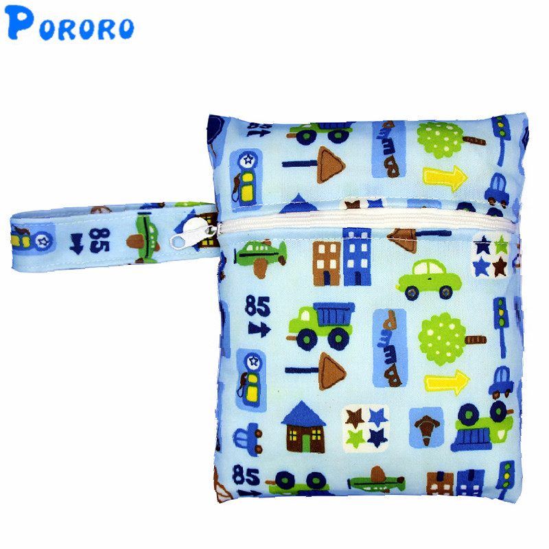 Wholesale Wet Bag Waterproof Cloth Diaper Bag Zipper Print Reusable Nappy PUL Wet Bag 16x20cm Nappy Bag