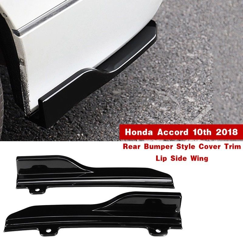 Black Chromium Styling Rear Side Skirt Spoiler Lip Bumper Wing Trim For Honda Accord 10th 2018