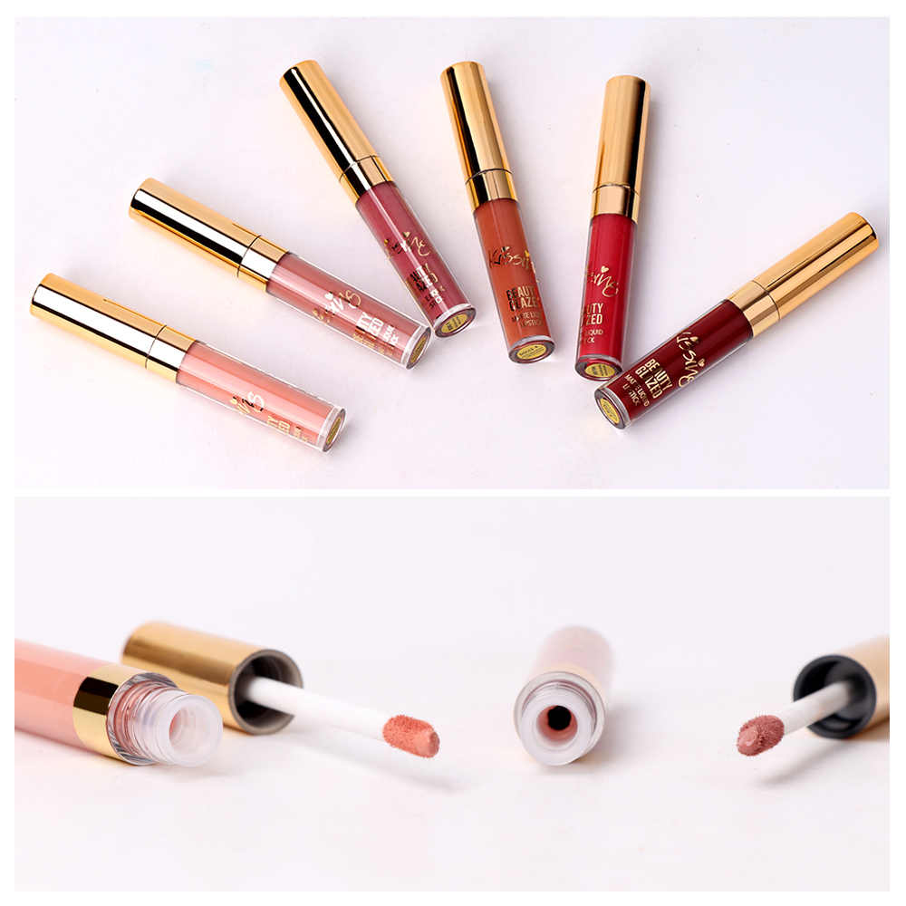 Belleza esmaltada 6 colores mate lápiz labial conjunto impermeable de larga duración brillo de labios pigmento de terciopelo desnudo Batom mujeres moda maquillaje de labios