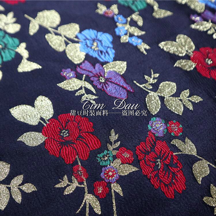 2018 nouvelle haute qualité or pivoine jacquard tissu manteau trench manteau robe marque teint jacquard tissu en gros - 3