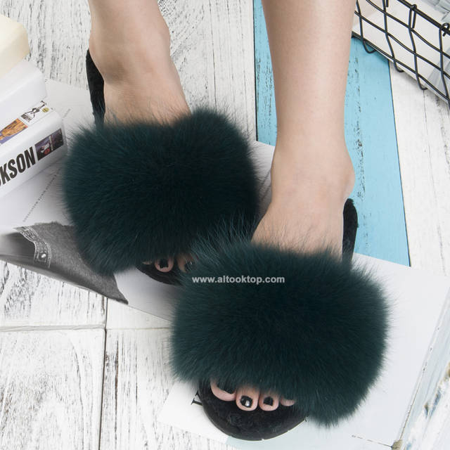 9f4b25f6b47 Fashion women girls fox fur slippers 8 colors wool fur slides indoor  outdoor shoes fuzzy slippers