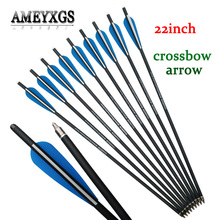 12pcs 22inch Crossbow Arrow Composite Carbon Bolt Release Arrows Nock Tail For Hunting Archery Accessories