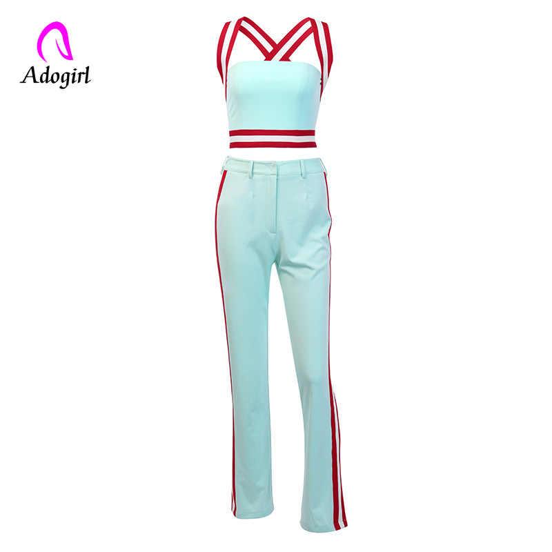 Baju Olahraga Wanita Dua Sepotong Set 2019 Musim Panas Solid Crop Top dan Sisi Garis Celana Set Pakaian Kasual Kebugaran 2 Buah set Overall